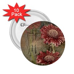 Flowers Plant Red Drawing Art 2 25  Buttons (10 Pack)
