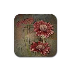 Flowers Plant Red Drawing Art Rubber Coaster (square)