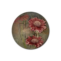 Flowers Plant Red Drawing Art Rubber Round Coaster (4 pack)