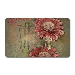 Flowers Plant Red Drawing Art Magnet (rectangular)
