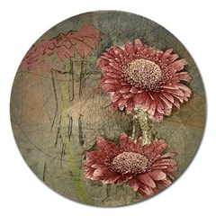 Flowers Plant Red Drawing Art Magnet 5  (round)