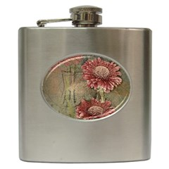 Flowers Plant Red Drawing Art Hip Flask (6 Oz)