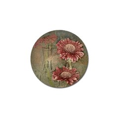Flowers Plant Red Drawing Art Golf Ball Marker