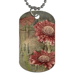Flowers Plant Red Drawing Art Dog Tag (two Sides)