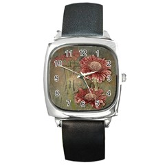Flowers Plant Red Drawing Art Square Metal Watch