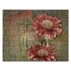 Flowers Plant Red Drawing Art Rectangular Jigsaw Puzzl