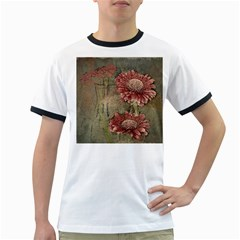 Flowers Plant Red Drawing Art Ringer T-Shirts