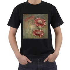 Flowers Plant Red Drawing Art Men s T-Shirt (Black) (Two Sided)