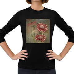 Flowers Plant Red Drawing Art Women s Long Sleeve Dark T-Shirts