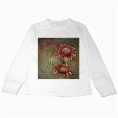 Flowers Plant Red Drawing Art Kids Long Sleeve T-Shirts