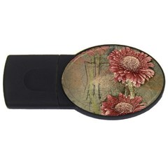 Flowers Plant Red Drawing Art Usb Flash Drive Oval (4 Gb)