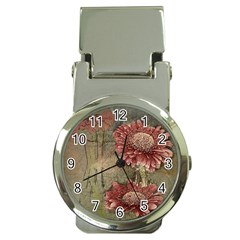 Flowers Plant Red Drawing Art Money Clip Watches