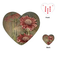 Flowers Plant Red Drawing Art Playing Cards (Heart)