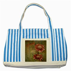 Flowers Plant Red Drawing Art Striped Blue Tote Bag