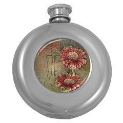 Flowers Plant Red Drawing Art Round Hip Flask (5 Oz)