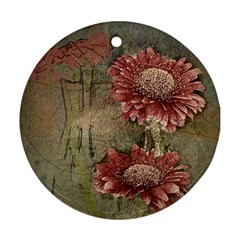 Flowers Plant Red Drawing Art Round Ornament (Two Sides)
