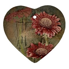 Flowers Plant Red Drawing Art Heart Ornament (two Sides)
