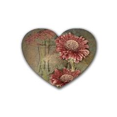 Flowers Plant Red Drawing Art Heart Coaster (4 Pack)