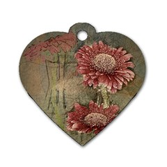 Flowers Plant Red Drawing Art Dog Tag Heart (One Side)
