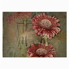 Flowers Plant Red Drawing Art Large Glasses Cloth (2 Side)