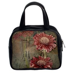 Flowers Plant Red Drawing Art Classic Handbags (2 Sides)