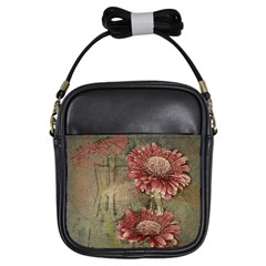 Flowers Plant Red Drawing Art Girls Sling Bags