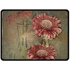 Flowers Plant Red Drawing Art Fleece Blanket (Large)