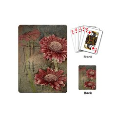 Flowers Plant Red Drawing Art Playing Cards (Mini)