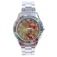 Flowers Plant Red Drawing Art Stainless Steel Analogue Watch