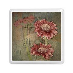 Flowers Plant Red Drawing Art Memory Card Reader (Square)