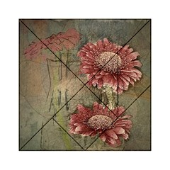 Flowers Plant Red Drawing Art Acrylic Tangram Puzzle (6  x 6 )