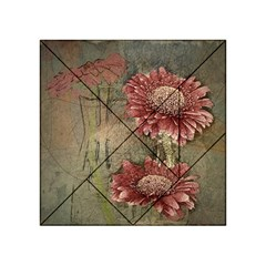 Flowers Plant Red Drawing Art Acrylic Tangram Puzzle (4  X 4 )