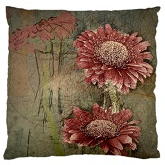 Flowers Plant Red Drawing Art Large Cushion Case (two Sides)