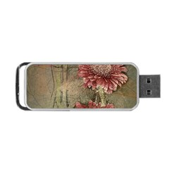 Flowers Plant Red Drawing Art Portable USB Flash (One Side)