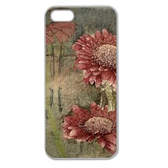 Flowers Plant Red Drawing Art Apple Seamless iPhone 5 Case (Clear)