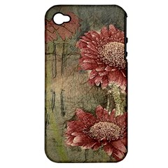 Flowers Plant Red Drawing Art Apple iPhone 4/4S Hardshell Case (PC+Silicone)