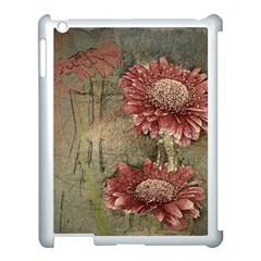 Flowers Plant Red Drawing Art Apple Ipad 3/4 Case (white)