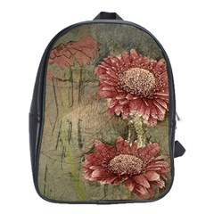 Flowers Plant Red Drawing Art School Bags (XL)