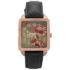Flowers Plant Red Drawing Art Rose Gold Leather Watch