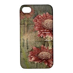 Flowers Plant Red Drawing Art Apple iPhone 4/4S Hardshell Case with Stand