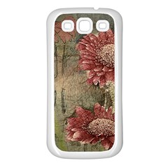 Flowers Plant Red Drawing Art Samsung Galaxy S3 Back Case (White)