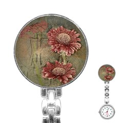 Flowers Plant Red Drawing Art Stainless Steel Nurses Watch