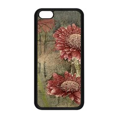 Flowers Plant Red Drawing Art Apple Iphone 5c Seamless Case (black)