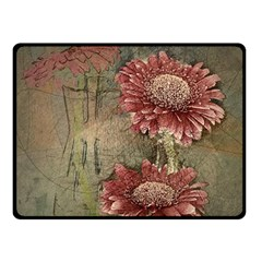 Flowers Plant Red Drawing Art Double Sided Fleece Blanket (Small)