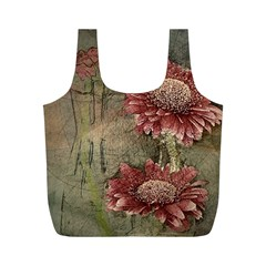 Flowers Plant Red Drawing Art Full Print Recycle Bags (m)