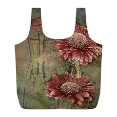 Flowers Plant Red Drawing Art Full Print Recycle Bags (l)