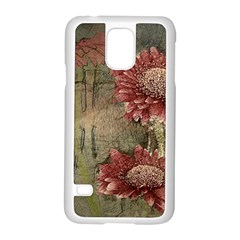 Flowers Plant Red Drawing Art Samsung Galaxy S5 Case (white)