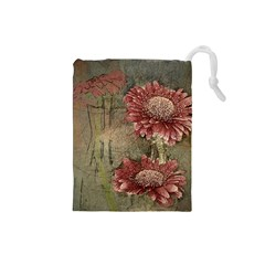 Flowers Plant Red Drawing Art Drawstring Pouches (Small)