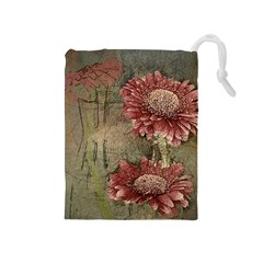 Flowers Plant Red Drawing Art Drawstring Pouches (medium)