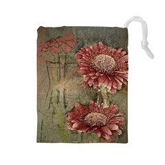 Flowers Plant Red Drawing Art Drawstring Pouches (Large)